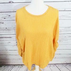 Zara Collection mustard long sleeve blouse